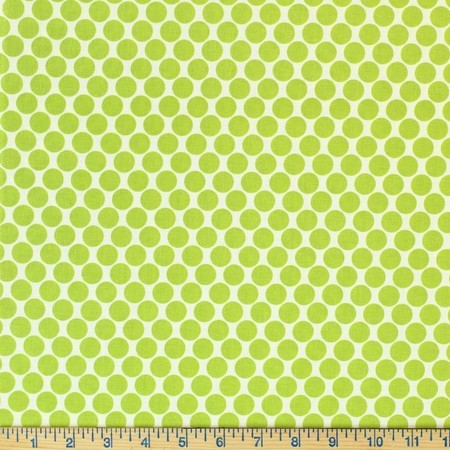 Amy Butler, Lotus, Full Moon Polka Dots, Lime Fabric