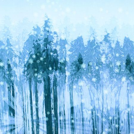 Robert Kaufman, Sugar Plum, Snowy Forest Fabric, Blue