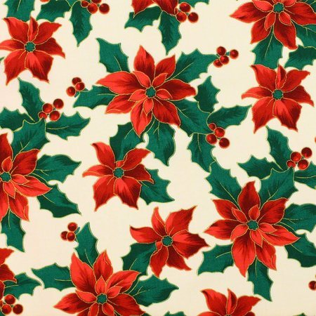 Merry Christmas Metallic Fabric, Poinsettias, Cream