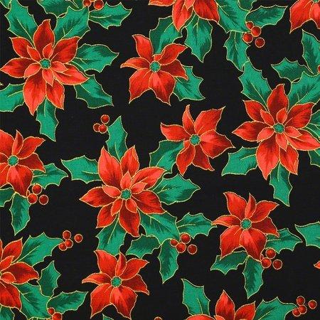 Merry Christmas Metallic Fabric, Poinsettias, Black