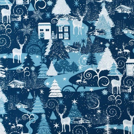 Merry Christmas Basics Fabric, Blue