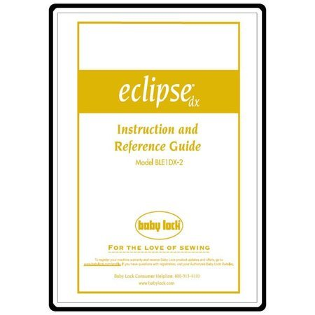 Instruction Manual, Babylock Eclipse BLE1DX-2