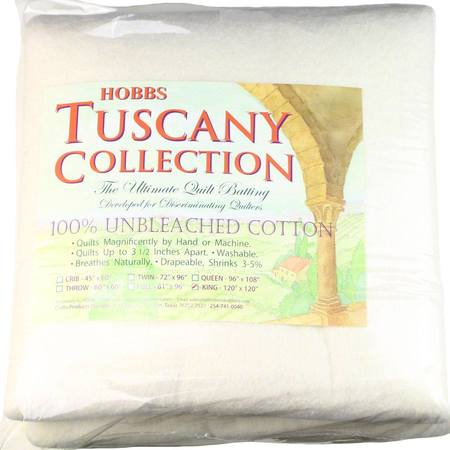"Hobbs Tuscany Unbleached Cotton Batting, 120""x 120"" King"
