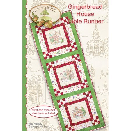 Gingerbread House Table Runner Pattern, Crabapple Hill Studio