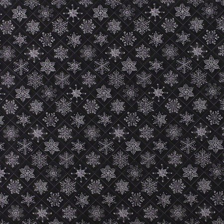 Christmas Visions, Metallic Snowflakes Fabric, Charcoal