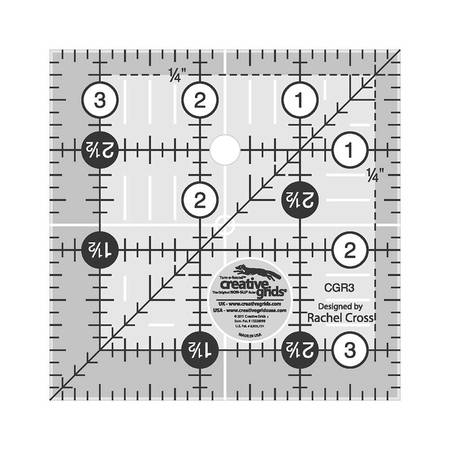 """Quilting Ruler 3-1/2"""" Square, Creative Grids"""