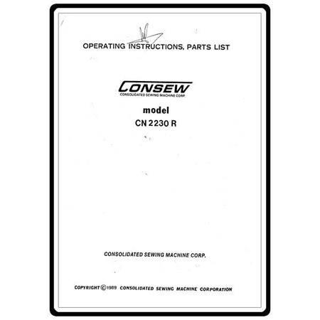 Instruction Manual, Consew CN2230-R