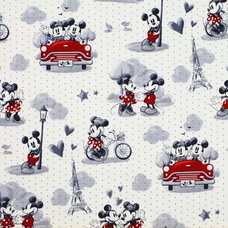 Vintage Scenes of Romance Mickey & Minnie Mouse Fabric