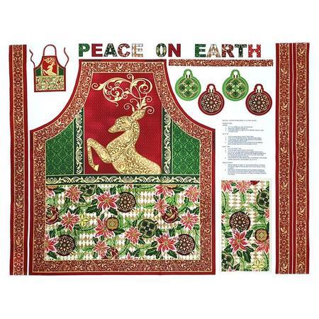 Paintbrush Studio, Peace on Earth Apron Fabric Panel