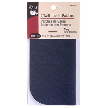 Twill Iron-On Patch Navy (2ct), Dritz #D55240-3T