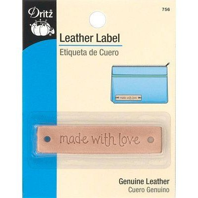 "Leather Label, Rectangle, ""Made with Love"""