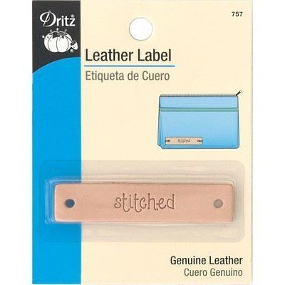 "Leather Label, Rectangle, ""Stitched"""