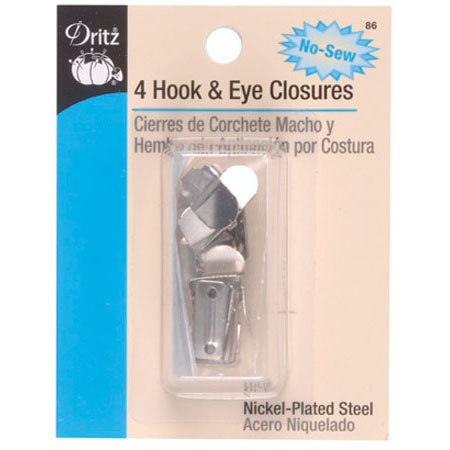 No-Sew Hook and Eye Closures (4pk), #D86