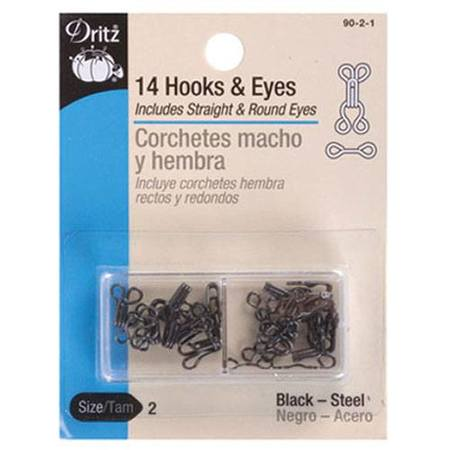 Hook and Eye Closures (14pk) Black #D90B