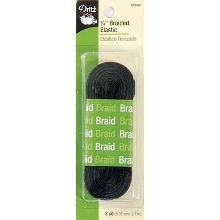 Braided Elastic (Black) 1/4in x3yd  #DE9330B