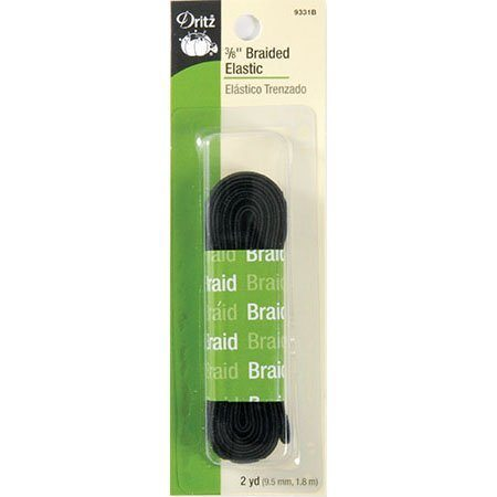 Braided Elastic (Black) 3/8in x 2yd  #DE9331B