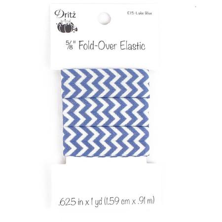 "Chevron Fold Over Elastic 5/8"" x 1 yd, Dritz (7 Colors Available)"