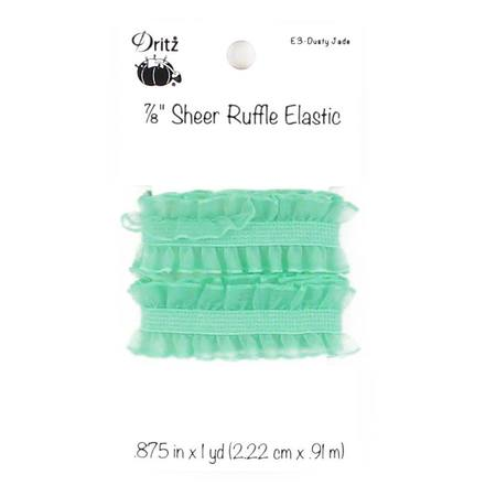 "Sheer Ruffle Elastic 7/8"" x 1 yd, Dritz (10 Colors Available)"