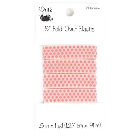 """Small Dots Fold Over Elastic 1/2"""" x 1 yd, Dritz (6 Colors Available)"""