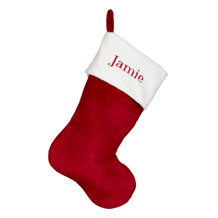 Embroider Buddy Red Plush Christmas Stocking