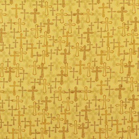 Whistler Studios, Faith Fabric, Crosses, Gold