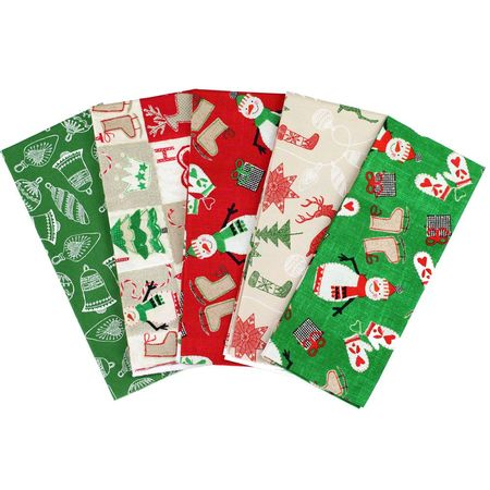 Christmas Fat Quarter Fabric Bundle (5pk), Primitive