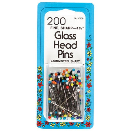 "Glass Head Pins 1 3/8"", Collins #GP108"