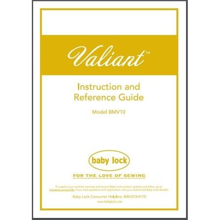 Instruction Manual, Babylock BMV10 Valiant