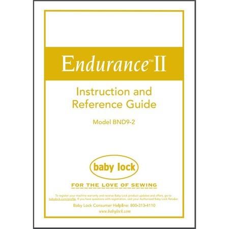 Instruction Manual, Babylock BND9-2 Endurance 2