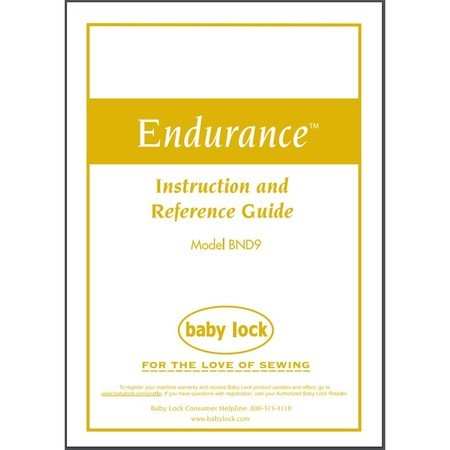Instruction Manual, Babylock BND9 Endurance