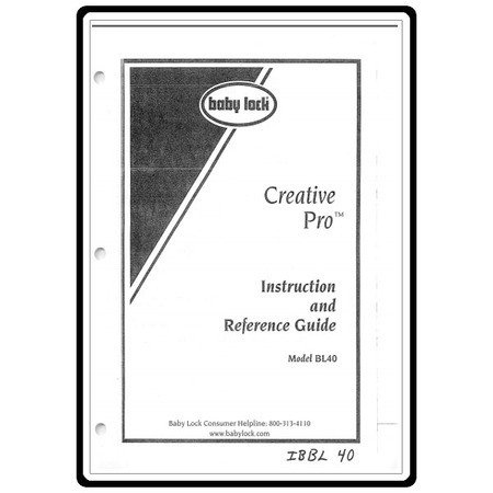 Instruction Manual, Babylock BL40 Creative Pro