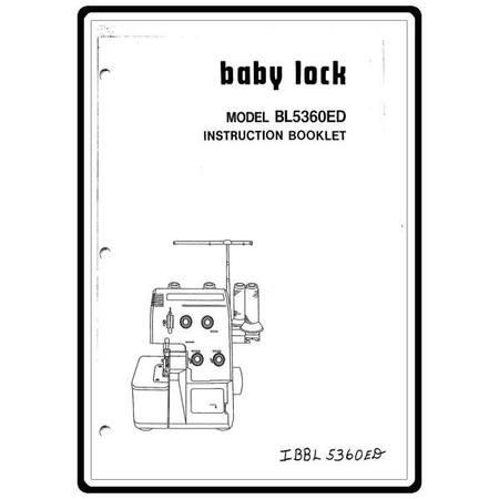 Instruction Manual, Babylock BL5360ED