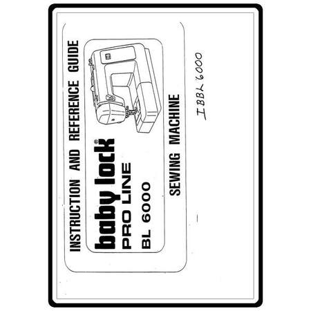 Instruction Manual, Babylock BL6000 Pro Line