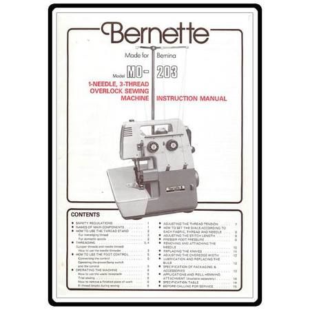 Instruction Manual, Bernette MO-203