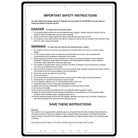 Instruction Manual, Elna 3210