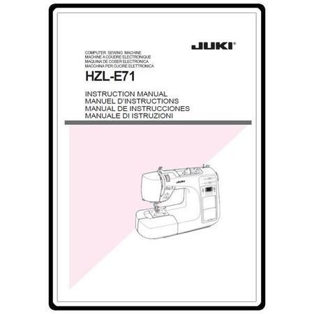 Instruction Manual, Juki HZL-E71