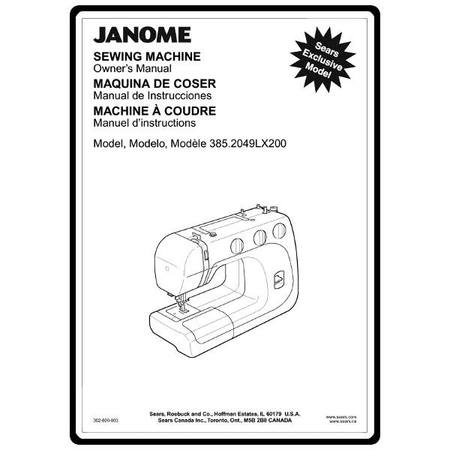 Instruction Manual, Janome 385.2049LX200