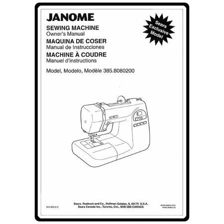 Instruction Manual, Janome 385.8080LX200