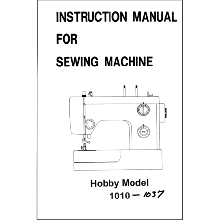Instruction Manual, Pfaff Hobby 1037