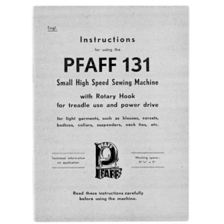 Instruction Manual, Pfaff 131
