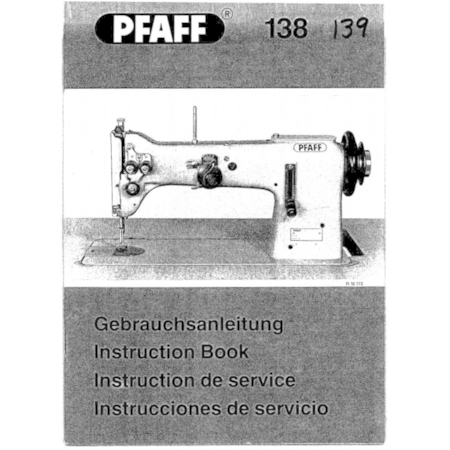 Instruction Manual, Pfaff 138
