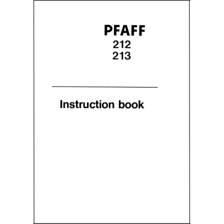 Instruction Manual, Pfaff 213