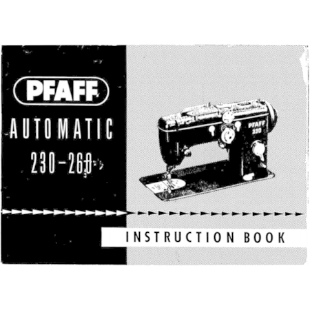 Instruction Manual, Pfaff 230-260