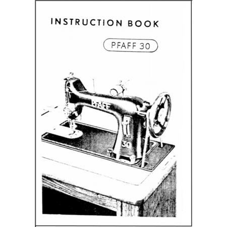 Instruction Manual, Pfaff 30