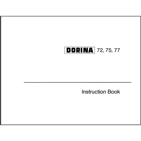 Instruction Manual, Pfaff Dorina 72
