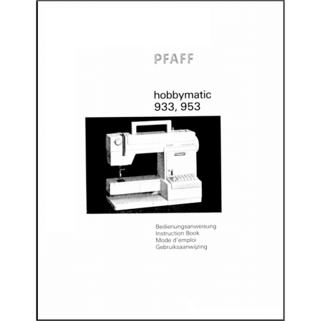 Instruction Manual, Pfaff Hobbymatic 953
