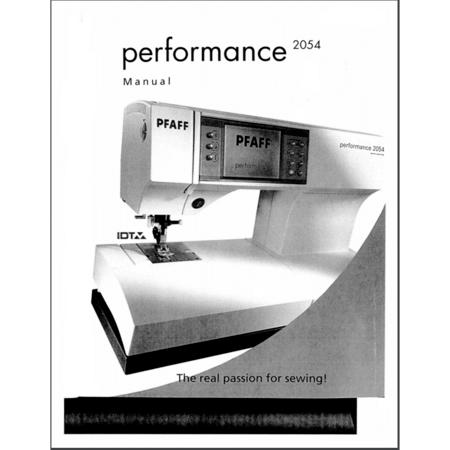 Instruction Manual, Pfaff Performance 2054