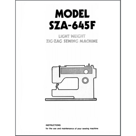 Instruction Manual, Pfaff SZA-645F