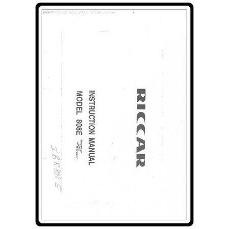 Instruction Manual, Riccar 808E