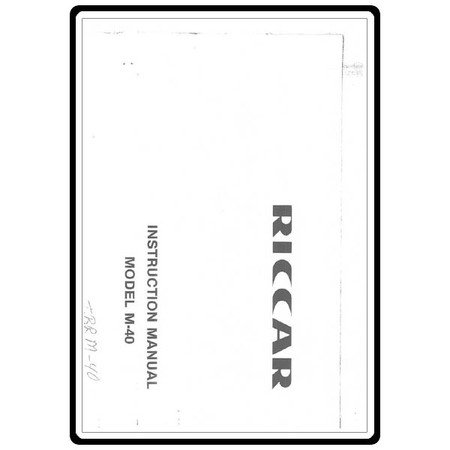 Instruction Manual, Riccar M40